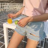 【狐狸跑跑】春夏新款韓版高腰破洞淺色水洗撕卷邊牛仔短褲女8538
