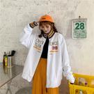 秋季潮韓版寬鬆休閒開衫春秋長袖連帽T恤百搭立領外套女學生