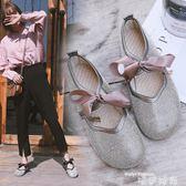 娃娃鞋春夏季新款韓版蝴蝶結水鉆豆豆鞋軟底奶奶鞋學生娃娃鞋女單鞋 唯伊時尚