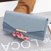 女士錢包 2019新款日韓個性長夾錢夾 簡約磨砂拼接折疊卡包 CJ6105『寶貝兒童裝』
