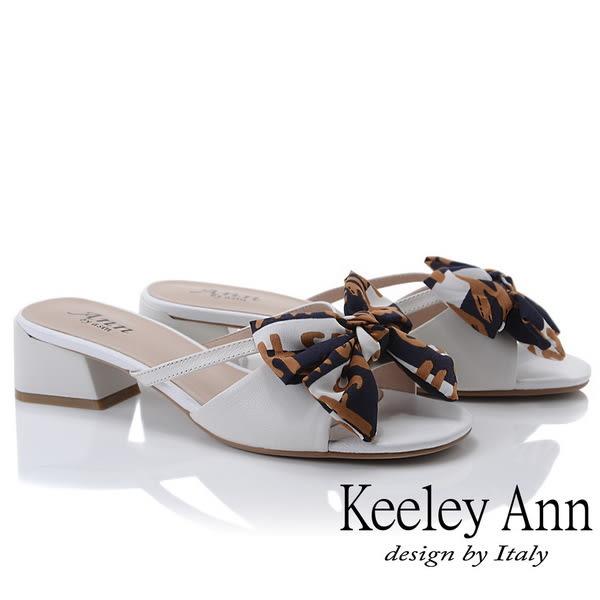 ★2019春夏★Keeley Ann細條帶 緞帶蝴蝶結低跟拖鞋(白色) -Ann系列