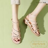 坡跟涼鞋女小眾羅馬鞋百搭平底綁帶厚底夏季女鞋【繁星小鎮】
