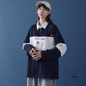 大碼polo衫衛衣寬鬆長袖女日系初秋女裝t恤上衣【愛物及屋】