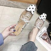 包頭半拖鞋女2019春季時尚銀色尖頭懶人鞋中跟涼拖鞋穆勒鞋潮【新品上新】