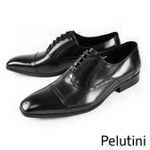 【Pelutini】率性橫飾牛津鞋 黑色(8135-BL)