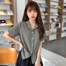 短袖襯衫 短袖新款薄款女襯衫小心機設計感小眾夏短款少女感雪紡上衣 2021新款