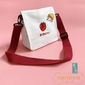 側背包ins可愛草莓帆布斜挎包日系小挎包原宿少女chic軟妹單肩布包【繁星小鎮】