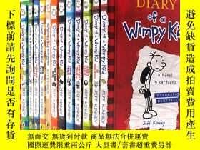 二手書博民逛書店14冊小屁孩日記套裝罕見英文原版漫畫 章節書Diary of a Wimpy Kid 1-14+do it you