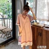 純棉孕婦裝洋裝上衣打底衫中長款T恤V領短袖夏裝寬鬆大碼孕婦裙 秋季新品