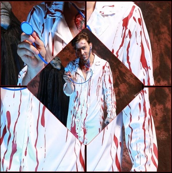 【NF235血染醫生袍/血染護士裝】Halloween萬聖節恐怖血腥護士服裝帶血成人女護士醫生服
