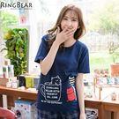 T恤--活潑俏皮休閒可愛貓咪咖啡杯印圖點點貓站牌貼布T恤(黑.藍XL-5L)-T198眼圈熊中大尺碼