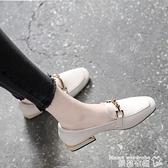 樂福鞋天天大東女鞋秋季2021新款英倫小皮鞋女軟皮粗跟方頭單鞋女樂福鞋  曼慕