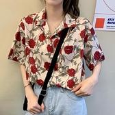 花襯衫 短袖碎花襯衫女設計感小眾韓版溫柔風復古港味很仙的洋氣上衣外套 交換禮物