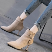 高跟短靴裸靴女2020秋冬高跟鞋女細跟尖頭秋鞋磨砂短靴百搭女鞋子秋款新年禮物