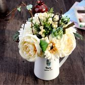 【雙11】仿真玫瑰扶郎花束歐式酒店餐廳客廳臥室辦公桌裝飾品假花絹花擺件免300