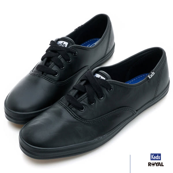 Keds 新竹皇家 CHAMPION 黑色 皮革 休閒鞋 女款 NO.I5600