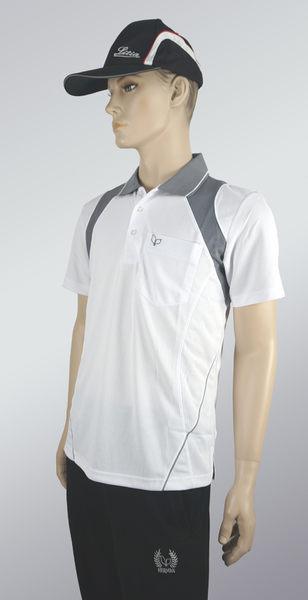 男雙色拼接立領涼感POLO衫