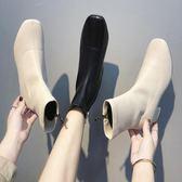 方頭粗跟短靴女2018新款秋冬百搭英倫馬丁靴及踝靴側拉鏈切爾西靴mks歐歐