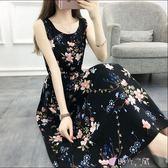 背心裙新款棉綢洋裝夏季復古裙文藝鬆緊腰背心裙度假長裙