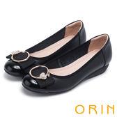 ORIN 甜美輕柔 愛心鑽飾點綴牛皮娃娃鞋-黑色