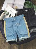 韓版夏季牛仔短褲男士潮流寬鬆時尚條紋直筒五分褲子 俏腳丫