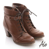 A.S.O 機能美型 軍風綁帶拉鍊粗跟短靴 咖啡