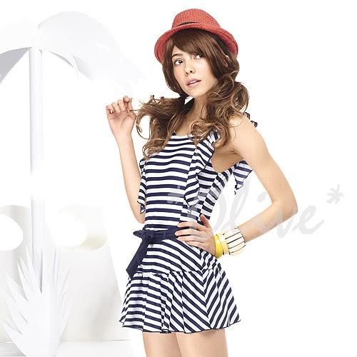 ☆小薇的店☆MIT聖手品牌時尚經典條紋水袖設計連身裙泳裝特價990元NO.A98417(M-XL)