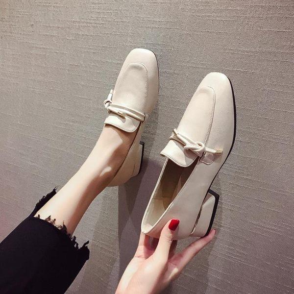 樂福鞋小皮鞋女英倫復古春季新款方頭樂福鞋粗跟中跟單鞋網紅豆豆鞋 小天使