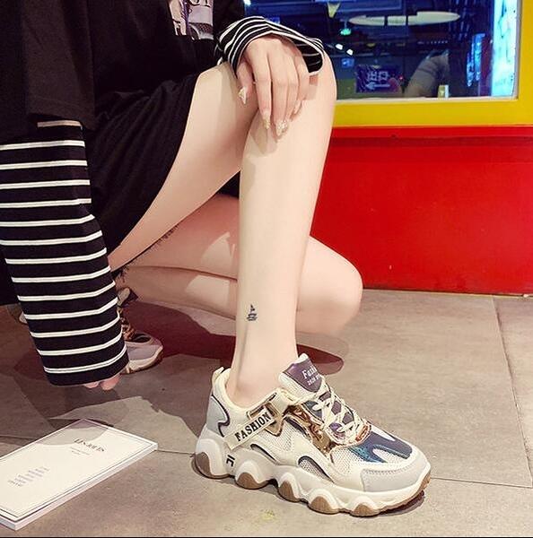 運動鞋 老爹鞋女2020冬季新款厚底高跟透氣運動智熏鞋超火潮