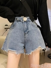 牛仔短褲 牛仔褲女夏季2021新款小眾高腰破洞顯瘦寬鬆闊腿褲ins設計感短褲  【618 大促】