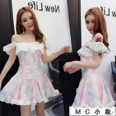 MG 夜店長裙-可愛吊帶性感一字肩連身裙