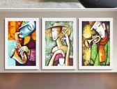 復古畫裝飾畫時尚抽象人物掛畫服裝店壁畫酒吧咖啡廳創意牆畫客廳43*63
