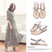 Ann'S浪漫步調-菱格寶石彩鑽小坡跟涼鞋-銀灰