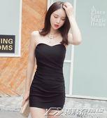 新款夜場氣質性感抹胸修身顯瘦包臀超短裙緊身打底連衣裙  潮流前線