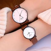 個性簡約情侶錶休閒商務男錶潮女學生皮帶防水腕錶     初語生活