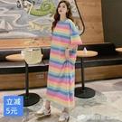 彩虹條紋撞色長款過膝T恤裙女春夏季韓版寬松大碼短袖洋裝 檸檬衣舍