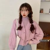 韓國網紅針織開衫外套女秋冬季2020新款韓版寬松V領長袖外穿短款毛衣【居享優品】