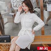 中大尺碼 韓版顯瘦長袖長版襯衫連衣裙 M-XL O-ker歐珂兒 17141-1