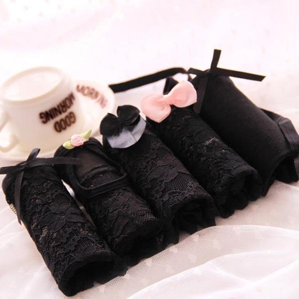 日系少女內褲性感蕾絲神秘黑色中低腰三角內褲純棉女士內褲
