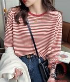 長袖T恤 條紋長袖t恤女寬鬆春秋裝新款打底衫內搭紅色早秋純棉上衣【風之海】