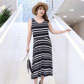中大尺碼~條紋後背交叉背心短袖洋裝連衣裙(XL~4XL)