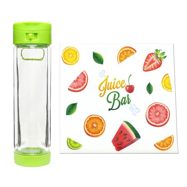 Glasstic │ 安全防護玻璃水瓶 經典小LO款 (綠_水果圖卡)