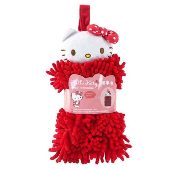 小禮堂 Hello Kitty 可掛式造型擦手巾 吸水毛巾 擦手毛巾 超細纖維 (紅 大臉) 4713218-89813