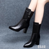 粗跟中筒靴2019新款皮面小短靴女英倫風時尚馬丁靴粗跟高跟鞋 XN7838【優品良鋪】