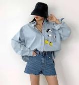 外套牛仔襯衫韓國東大門減齡米奇口袋印花中長寬鬆大碼牛仔襯衫MB064-322.胖胖唯依二店