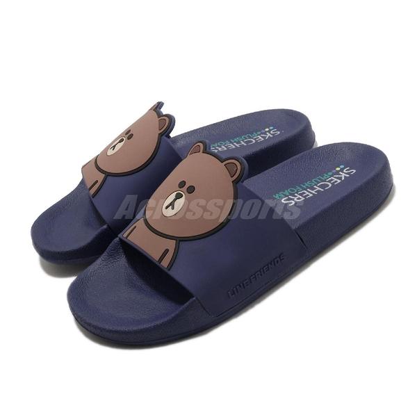 Skechers 拖鞋 Line Friends Pop Ups-Pal Parade 藍 棕 女鞋 熊大 Brown 聯名 限量【ACS】 31644RYL