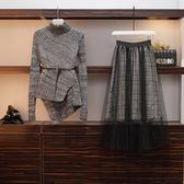 中大尺碼 棉花糖女生L-4XL大碼女裝減齡洋氣毛衣兩件套針織衫套裝4F079.5159韓依紡