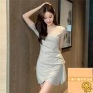 高腰氣質顯瘦薄款裙子網紗連衣裙女夏季連身裙短袖【小狮子】