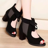 魚口鞋 魚口鞋高跟夏季新款粗跟女鞋子正韓百搭中跟鏤空網紗高跟涼鞋-Ballet朵朵