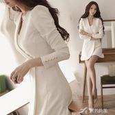 秋裝韓版OL氣質職業女裝假兩件套長袖修身西裝外套連身裙  樂芙美鞋